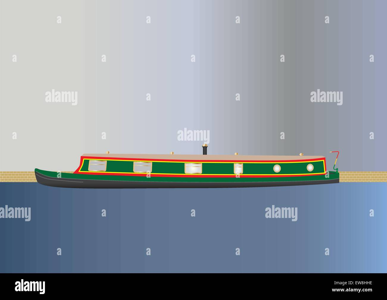 A Green and Red Narrowboat or barge floating on a canal with a sky background - Stock Vector
