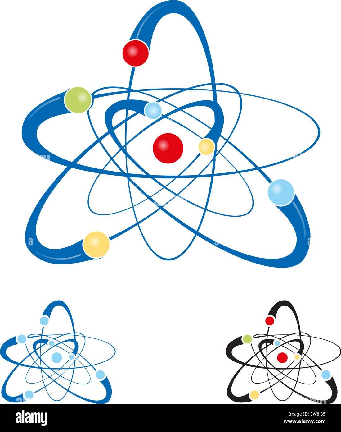 atom symbol set isolated on white background - Stock Image