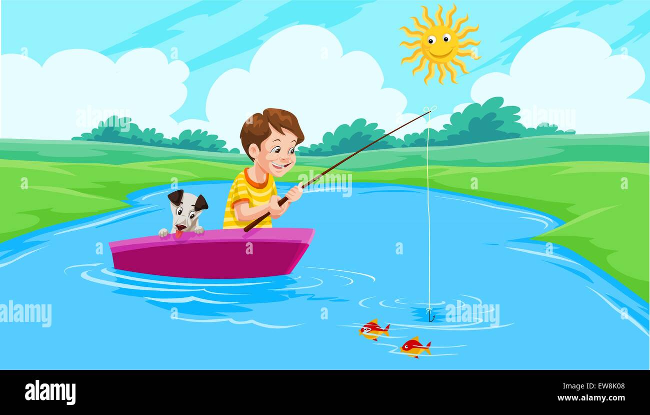 Lake Fishing, Boy and Dog on a Boat, vector illustration - Stock Vector