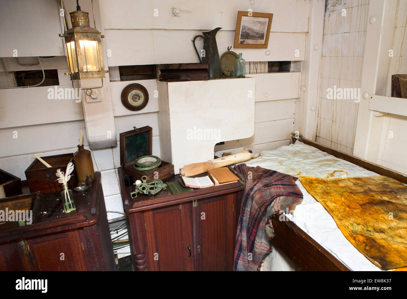 Ireland, Co Wexford, New Ross, Captains cabin inside 1845 emigrant ship Dunbrody - Stock Image