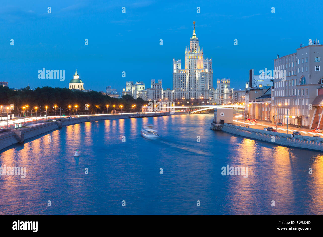 Dusk view of the Kotelnicheskaya Embankment Building, one of the Seven Sisters buildings in Moscow, Russia. Stock Photo