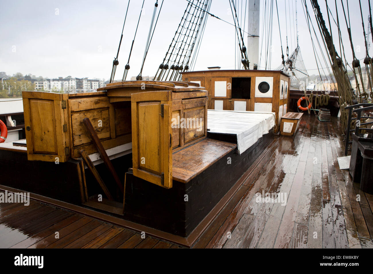 Ireland, Co Wexford, New Ross, replica 1845 emigrant ship Dunbrody deck and galley - Stock Image