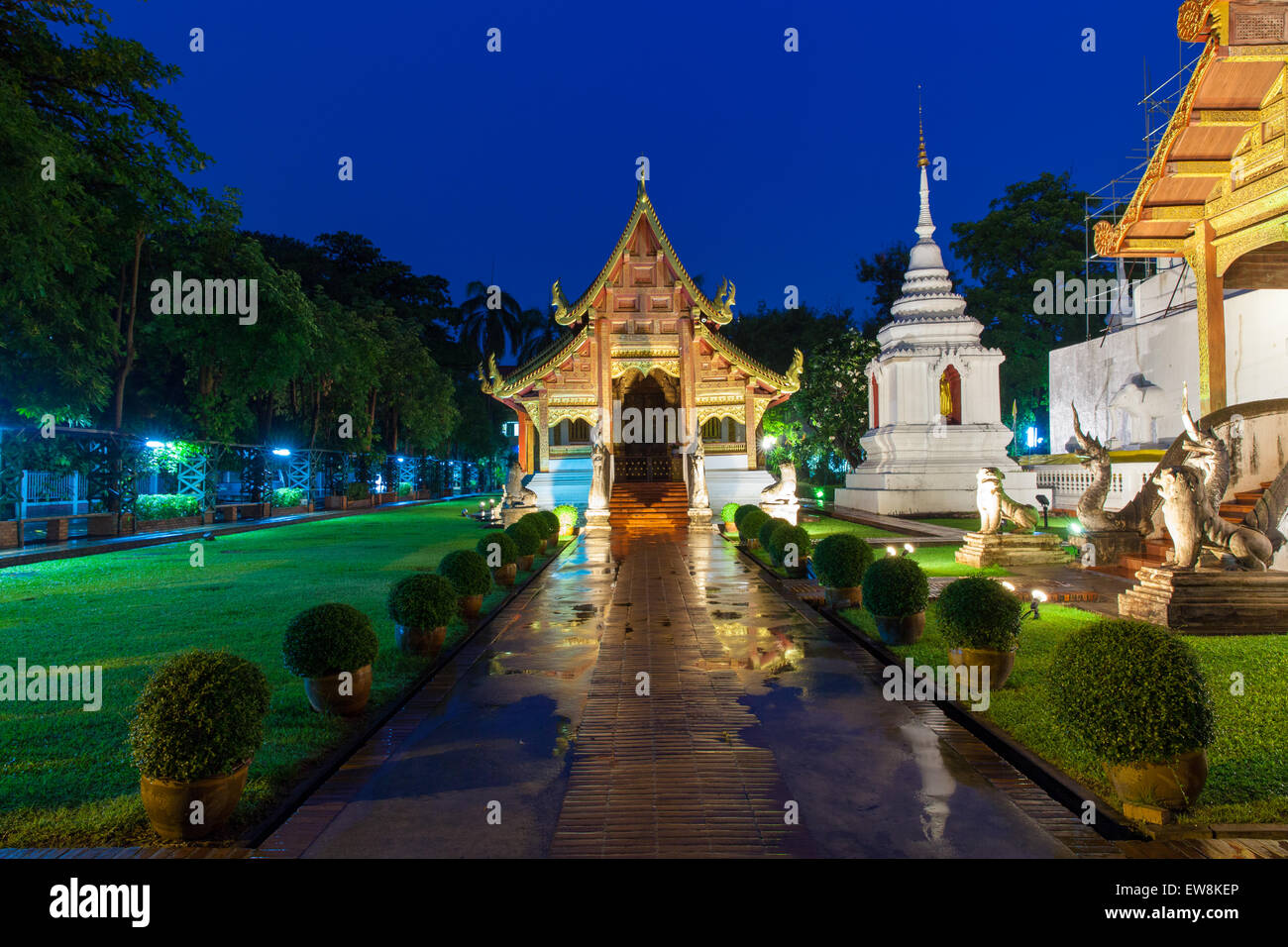 Wat Phra Singh Temple at night, Chiang Mai, Thailand. Chiang Mai's most revered temple. - Stock Image