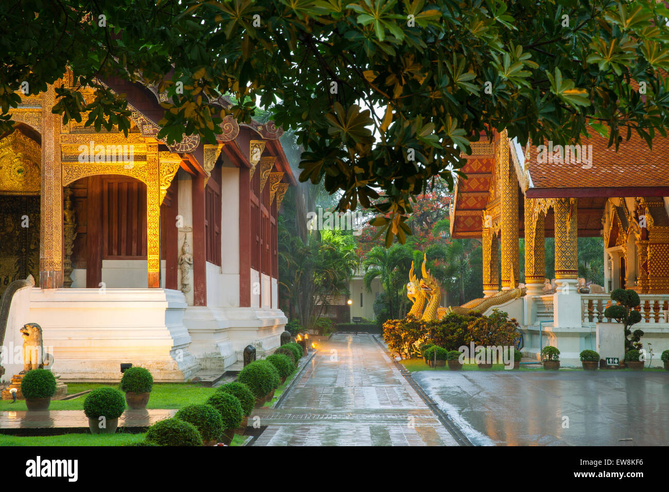 Wat Phra Singh Temple, Chiang Mai, Thailand. Chiang Mai's most revered temple. - Stock Image