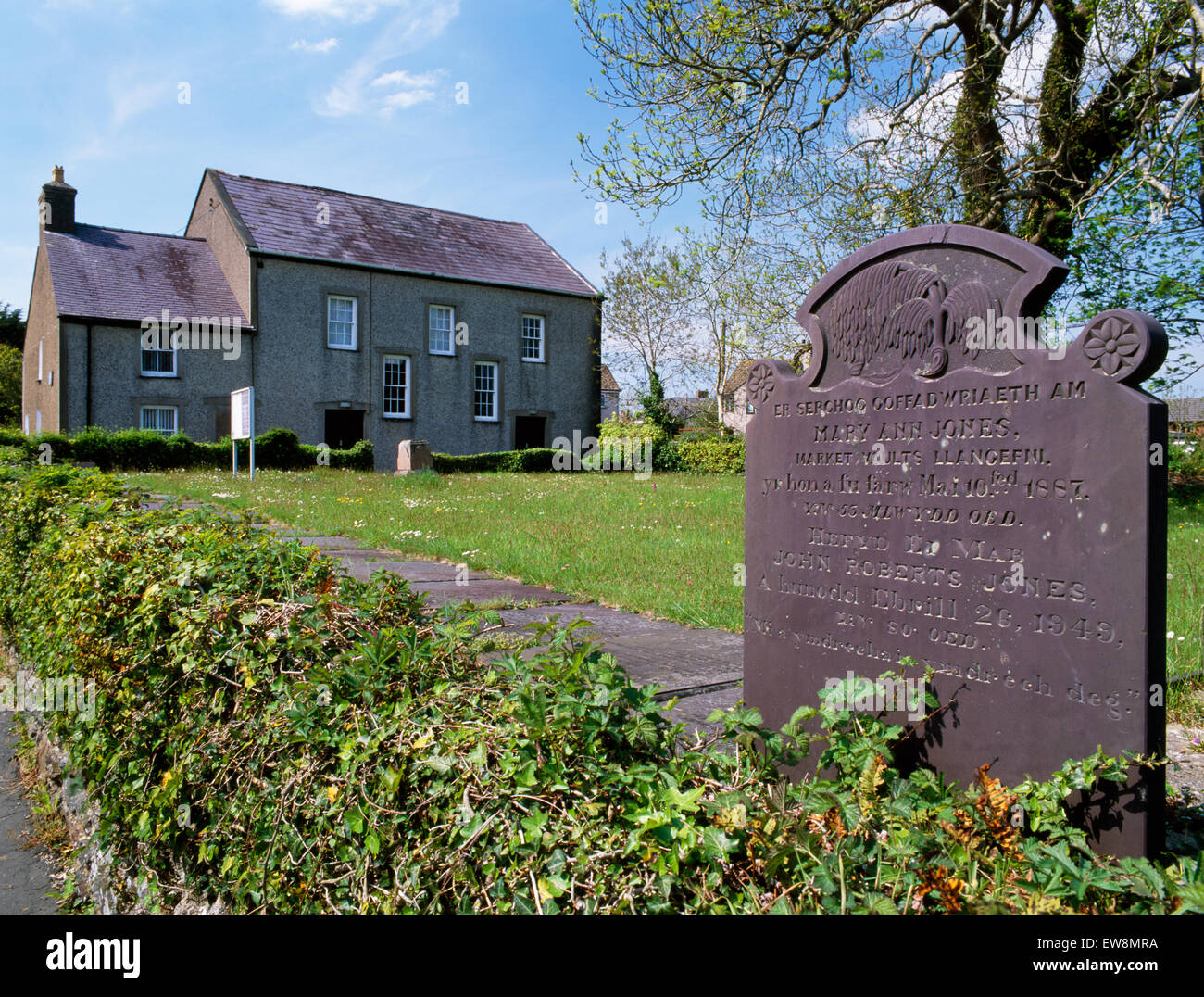 Capel Cildwrn, Llangefni, the first Baptist chapel in Anglesey, 1750, enlarged 1781, 1814 & 1846: preacher Christmas - Stock Image