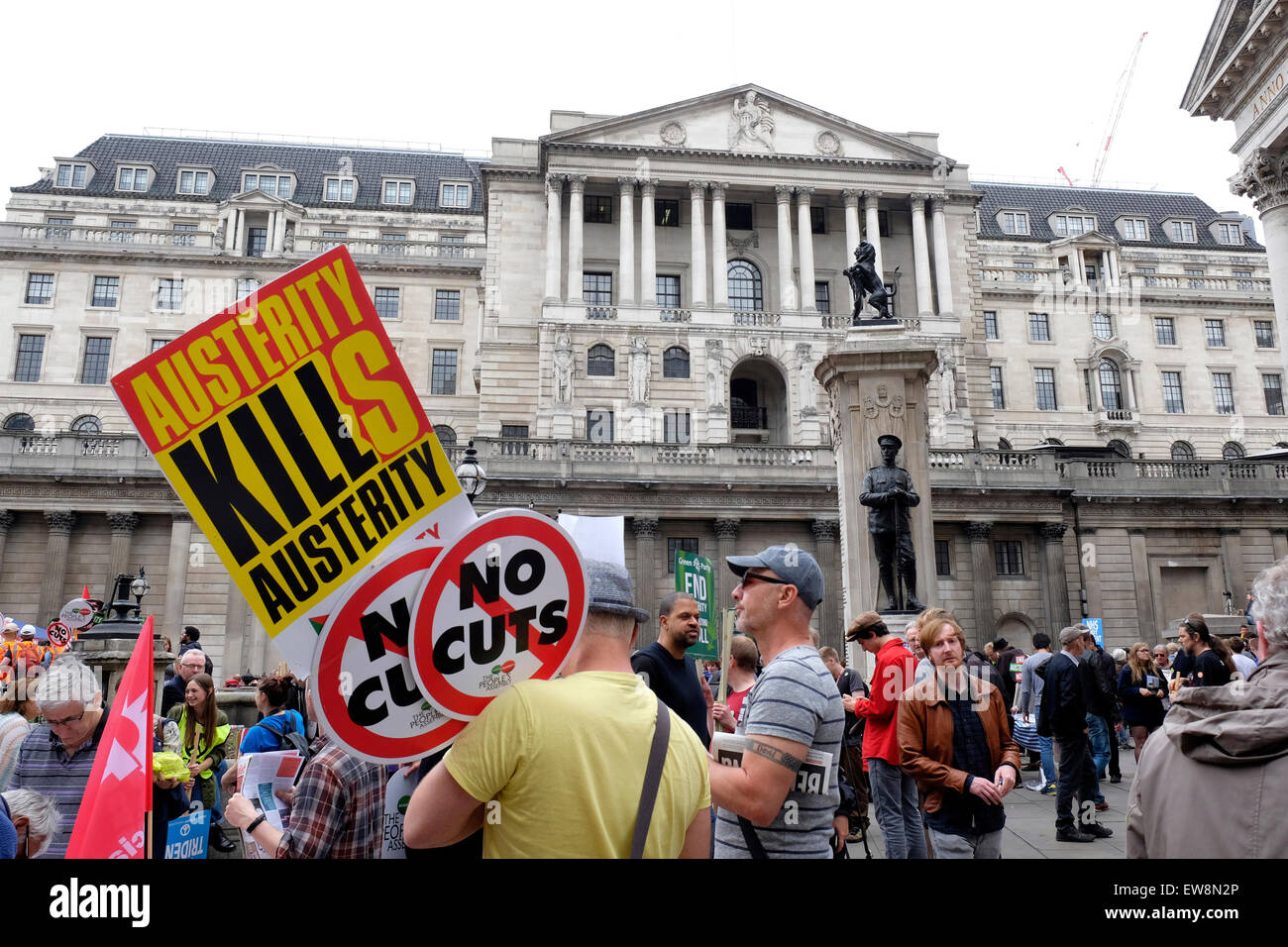 Anti-austerity protesters gather outside the Bank of England - Stock Image