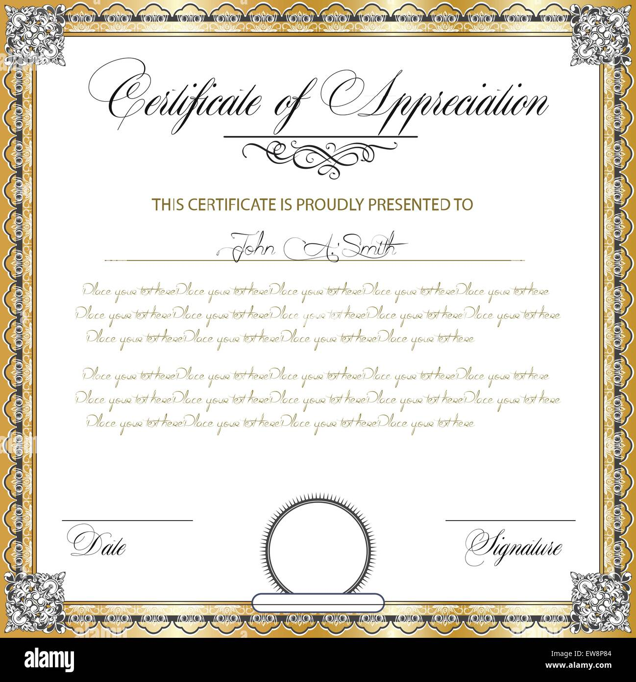 Vintage certificate of appreciation with ornate elegant retro stock vintage certificate of appreciation with ornate elegant retro abstract floral design dark gray and white flowers and leaves on gold and white background yelopaper Image collections
