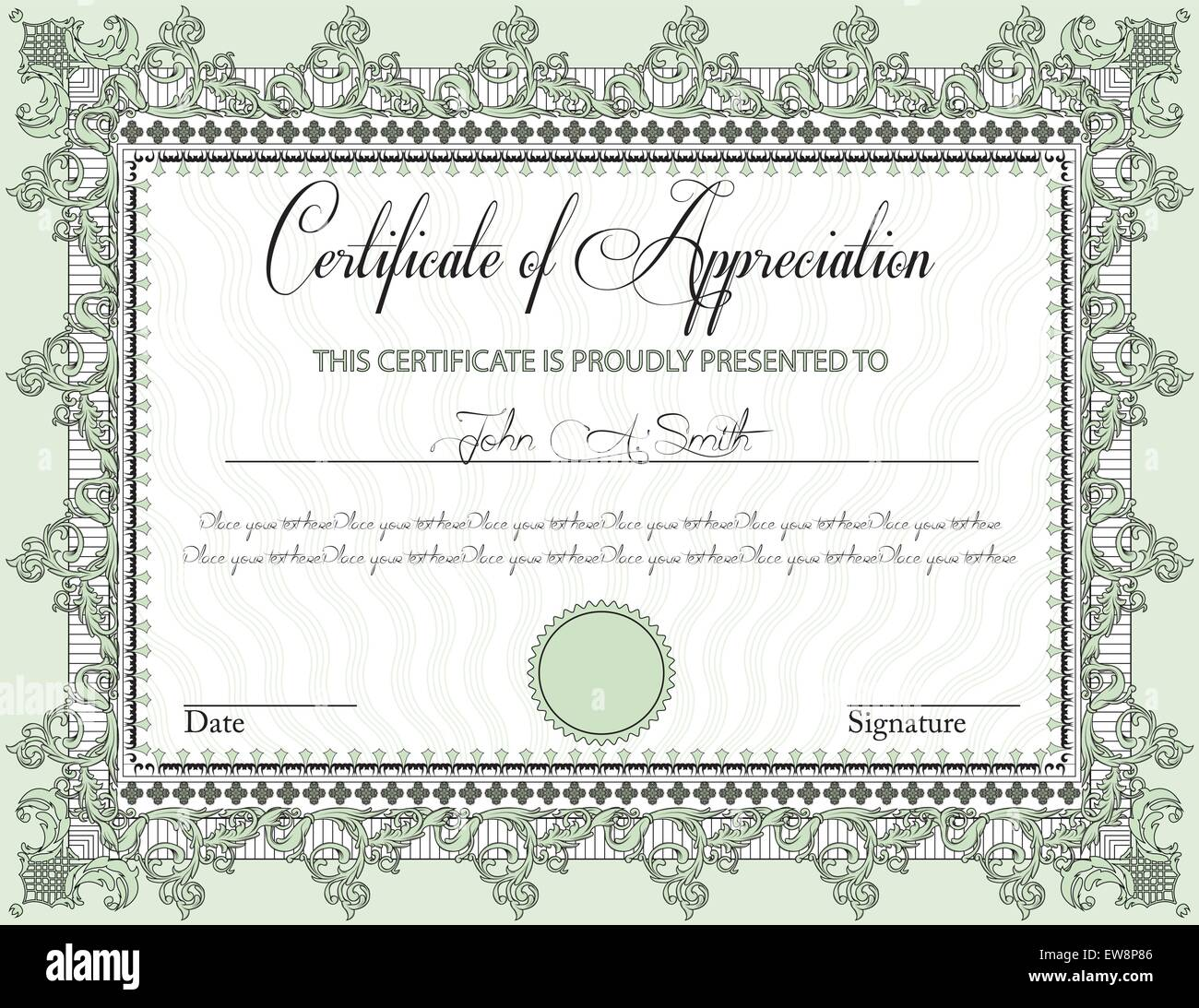 Vintage certificate of appreciation with ornate elegant retro stock vintage certificate of appreciation with ornate elegant retro abstract floral design black and laurel green flowers and leaves on pale green background yelopaper Image collections