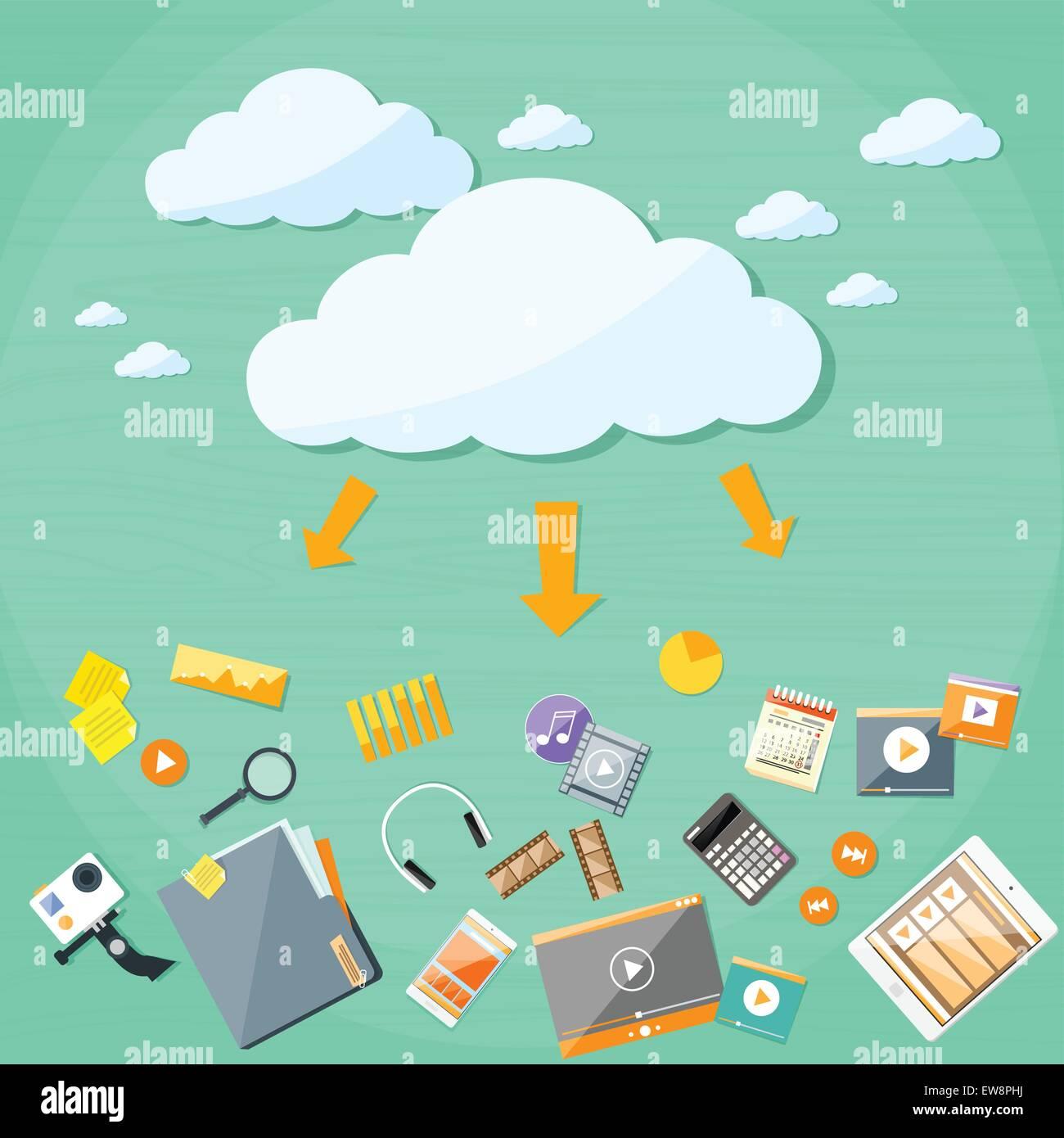 Cloud Technology Online Internet Data Information Storage - Stock Vector