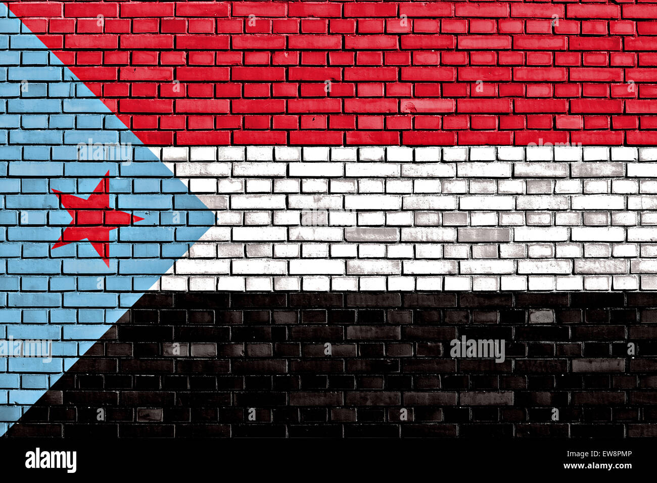 flag of South Yemen painted on brick wall - Stock Image