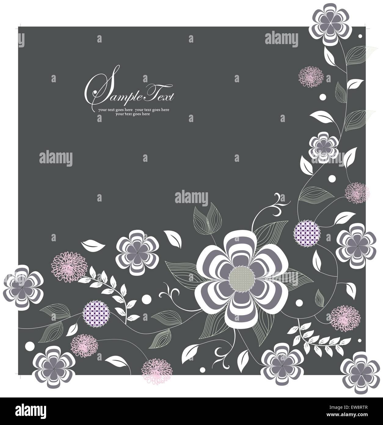Vintage invitation card with elegant retro floral design, purple and pink flowers on gray. Vector illustration. Stock Vector