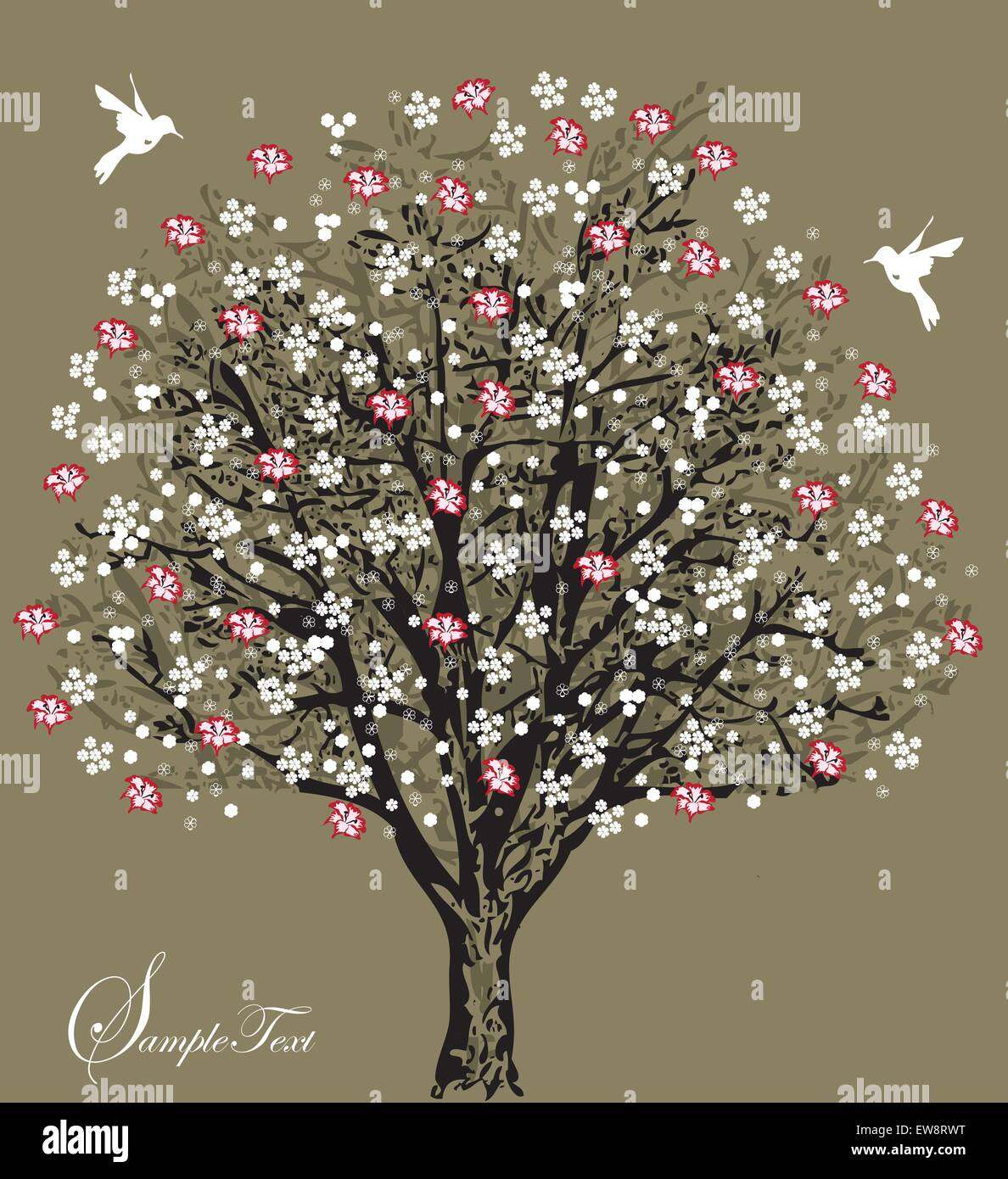 Vintage Wedding Invitation Card With Elegant Retro Floral Tree Design Red And White Flowers Birds On Gray Vector Illustration: Floral Wedding Invitations With Tree At Websimilar.org