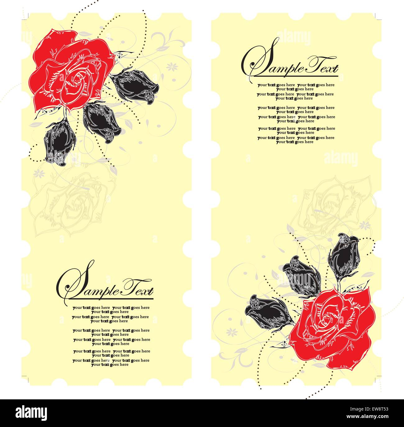Vintage invitation card with elegant floral design, red flowers on yellow. Vector illustration. Stock Vector