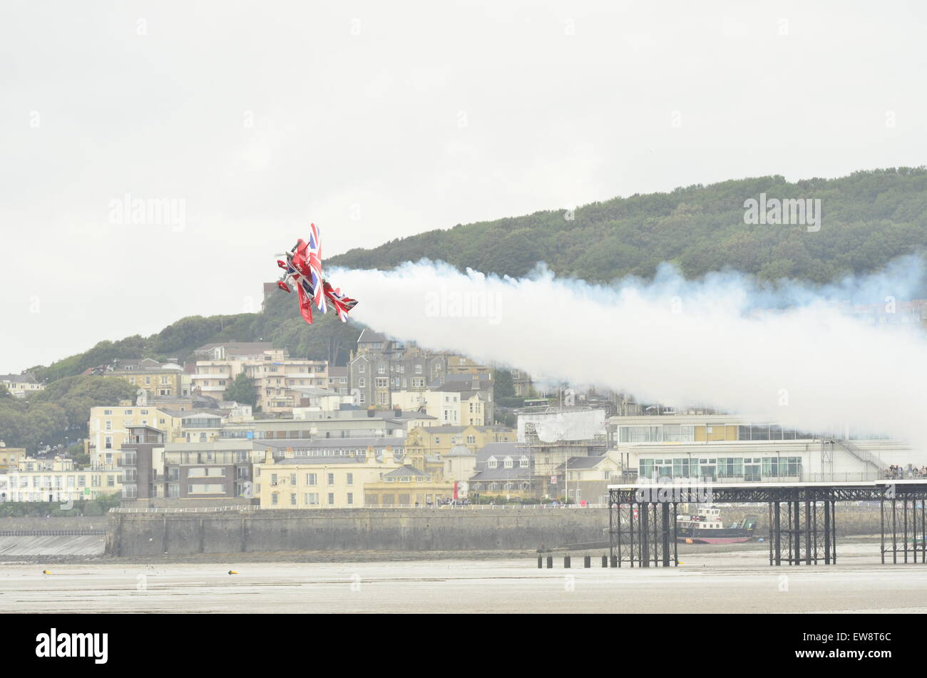 Weston-Super-Mare, UK. 20th June, 2015. Air show Weston-Super-Mare seafront a Display by Muscle biplane Raging Rhino - Stock Image