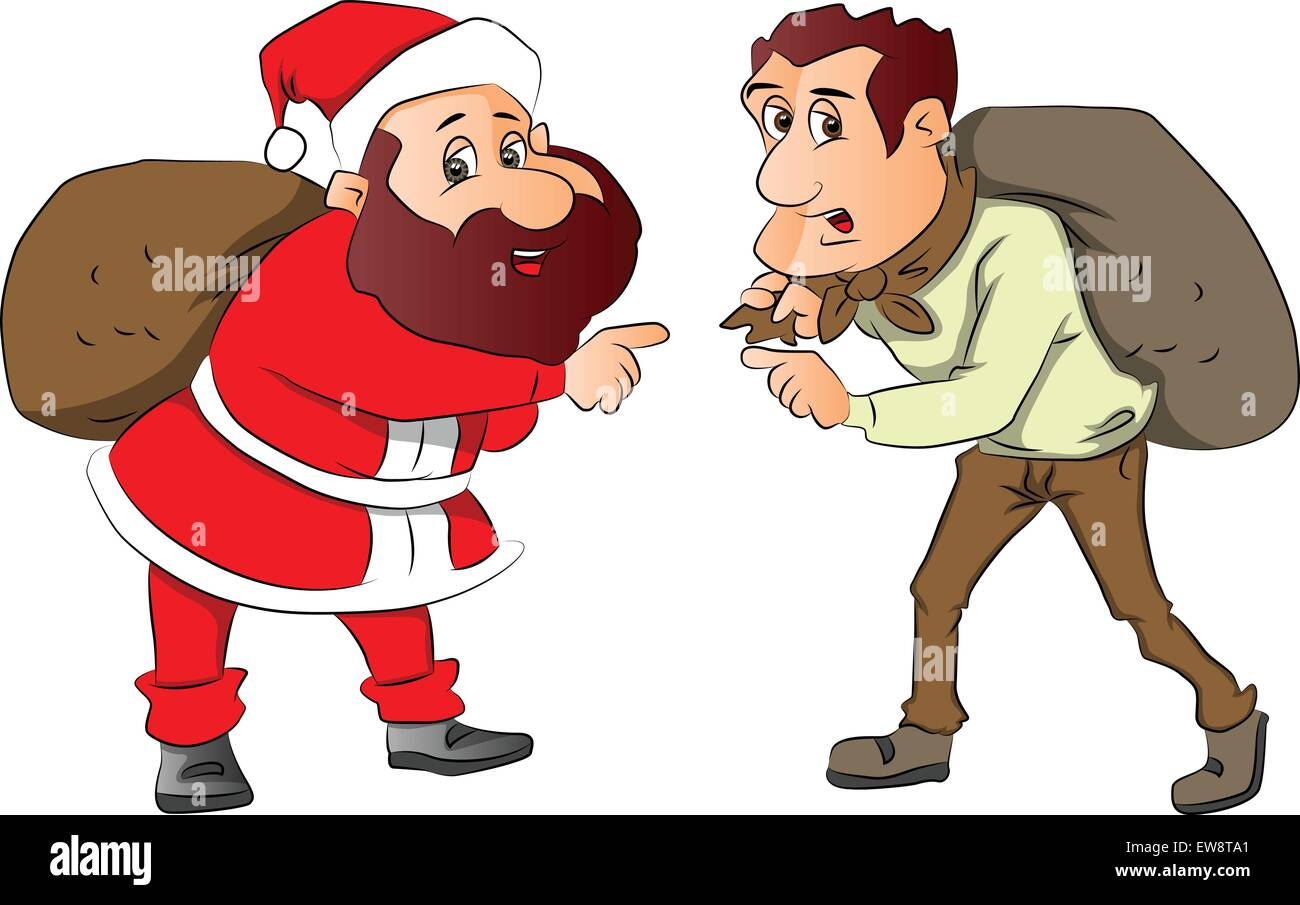 Vector illustration of santa and burglar pointing with sacks on their back. - Stock Vector