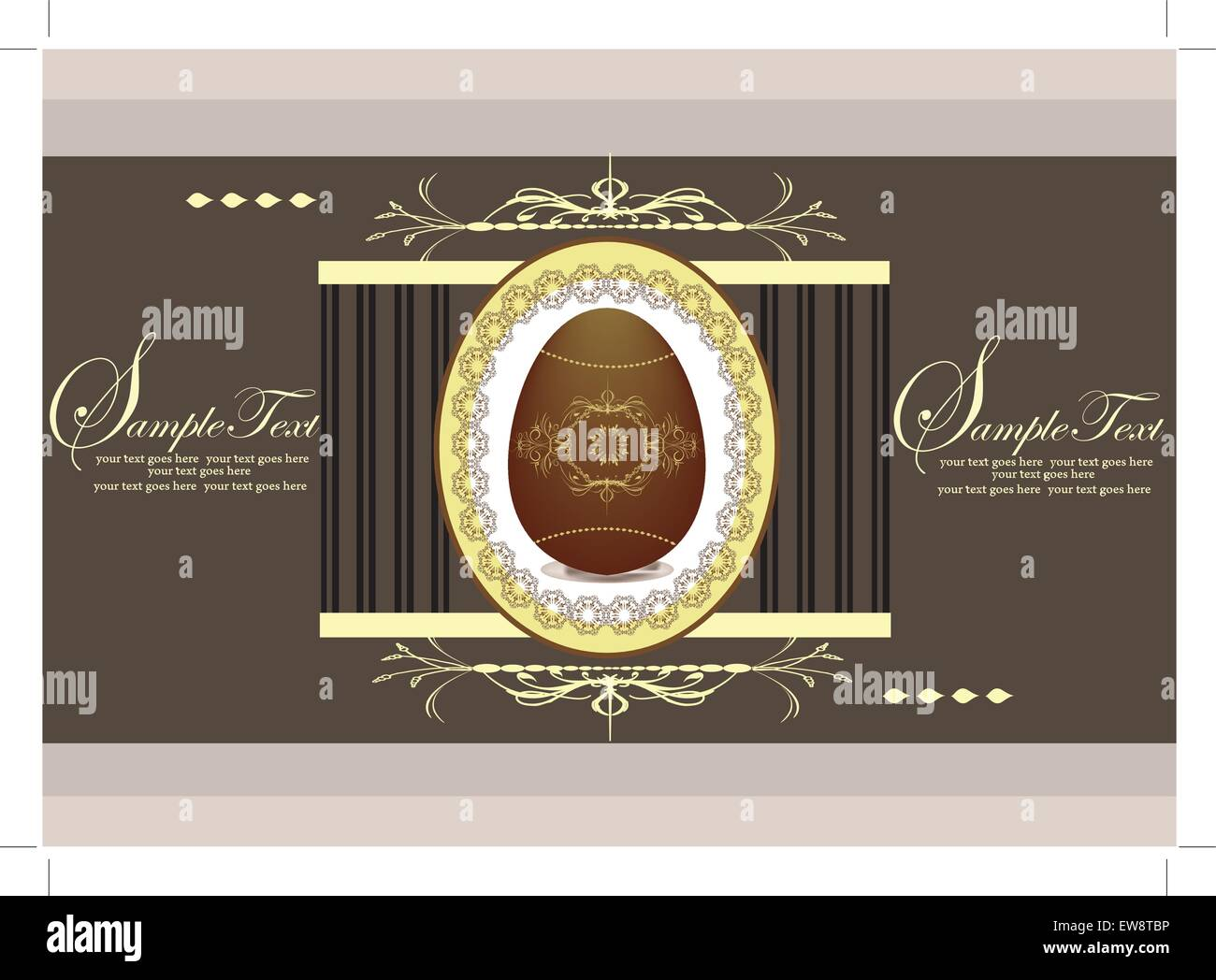 Vintage easter invitation card with ornate elegant abstract floral design, brown eggs on gray. Vector illustration. Stock Vector