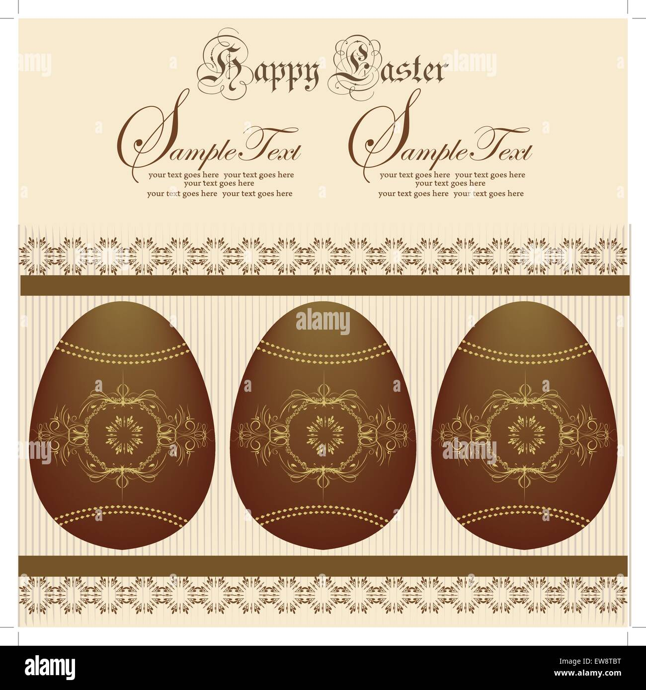 Vintage easter invitation card with ornate elegant abstract floral design, brown eggs on yellow. Vector illustration. Stock Vector