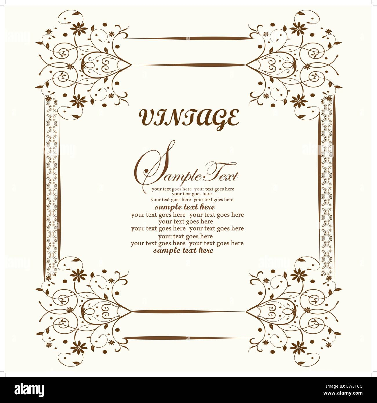 Vintage invitation card with ornate elegant abstract floral design, brown flowers on yellow. Vector illustration. Stock Vector