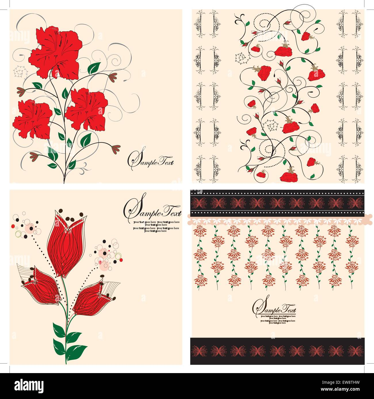 Set of four (4) vintage invitation cards with ornate elegant retro abstract floral designs, red flowers on tan. Stock Vector