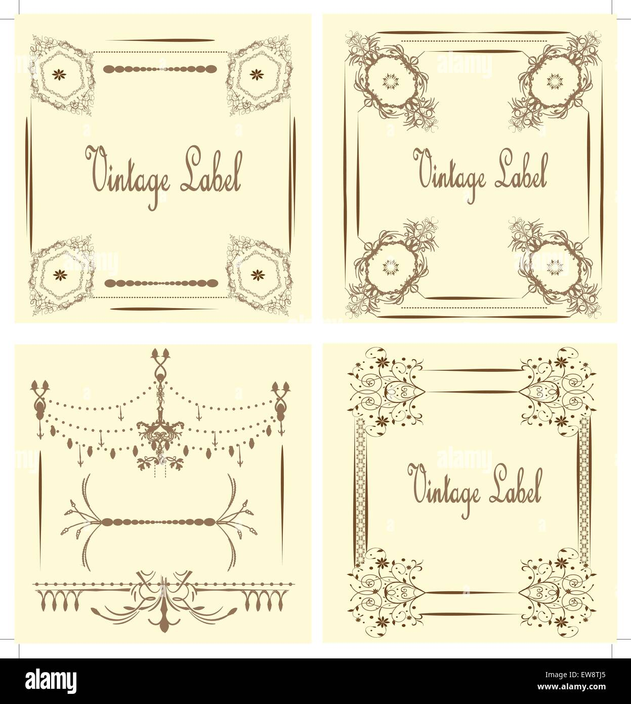 Vintage labels with ornate elegant abstract floral design, on yellow. Vector illustration. Stock Vector