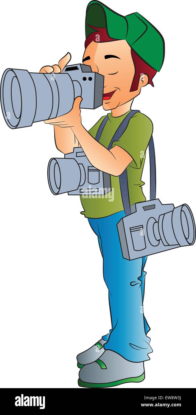 Professional Photographer, vector illustration - Stock Vector