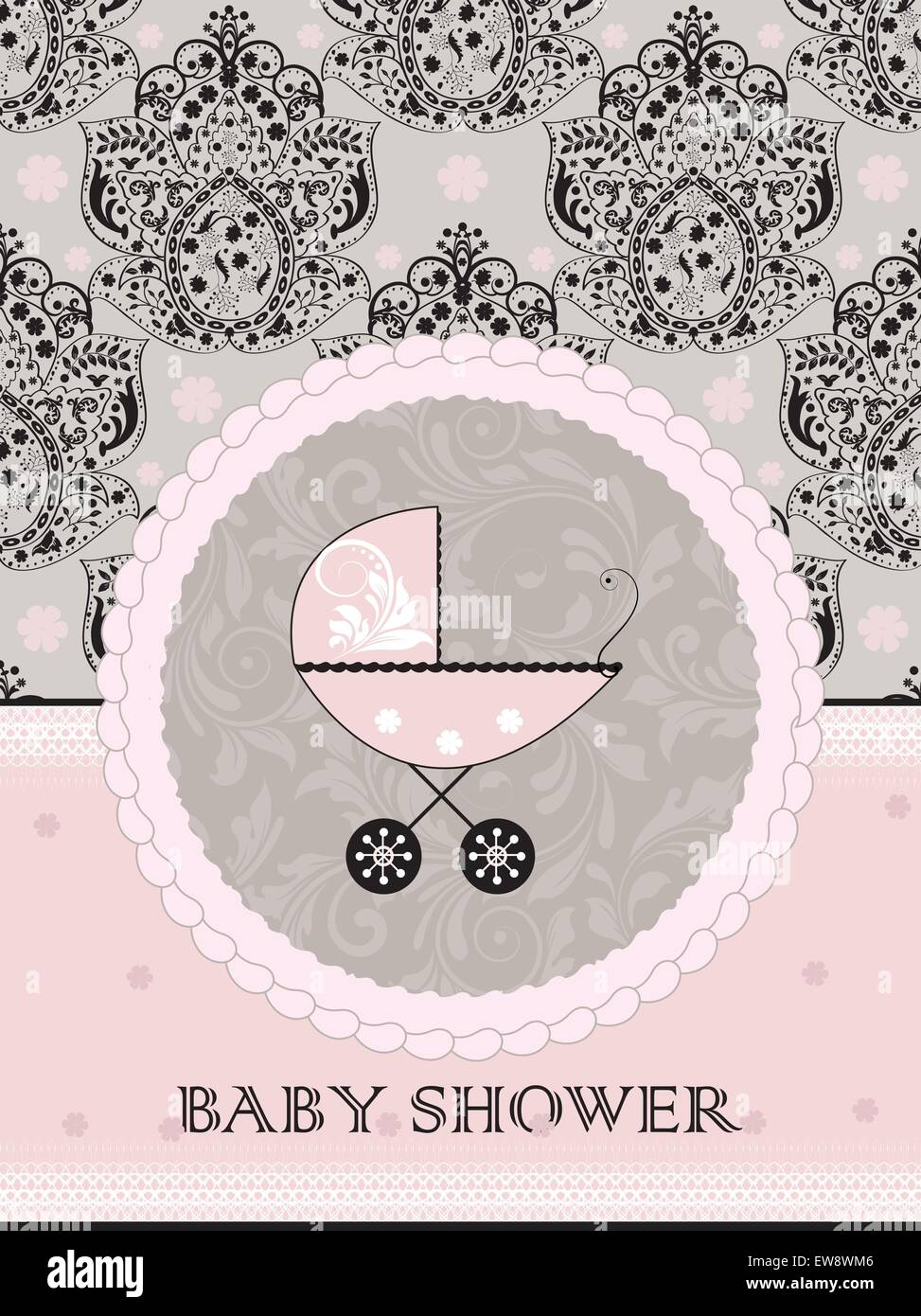 vintage baby shower invitation card with ornate elegant abstract
