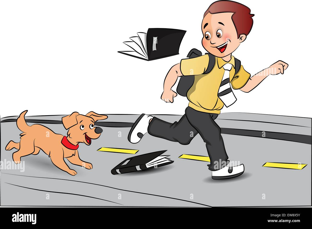 Vector illustration of a happy schoolboy running in excitement with pet dog after his exams. - Stock Vector