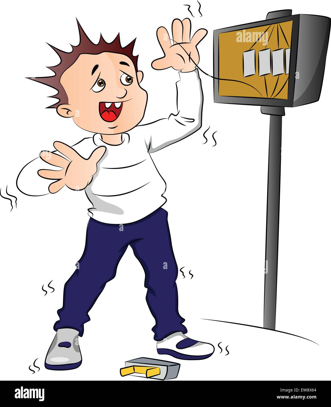 Vector illustration of man receiving an electric shock after short circuit  in fuse box. -