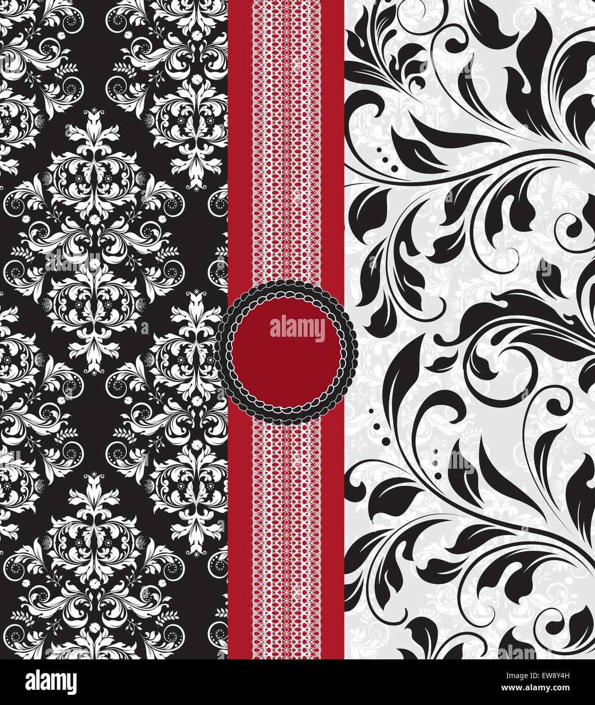 Vintage Background With Ornate Elegant Abstract Floral Design Black