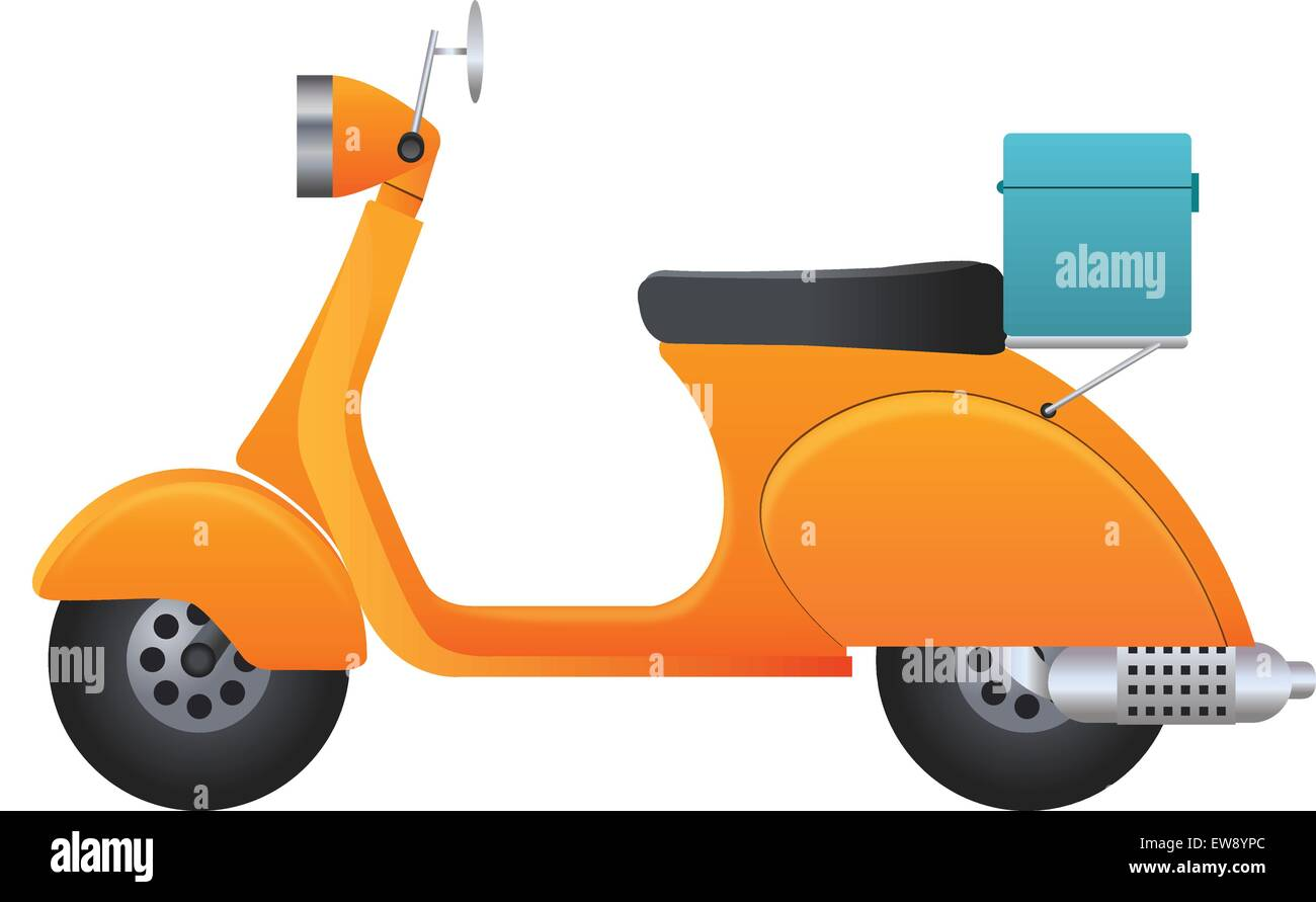Delivery Scooter, Orange and Black, with Blue Utility Case, vector illustration - Stock Image