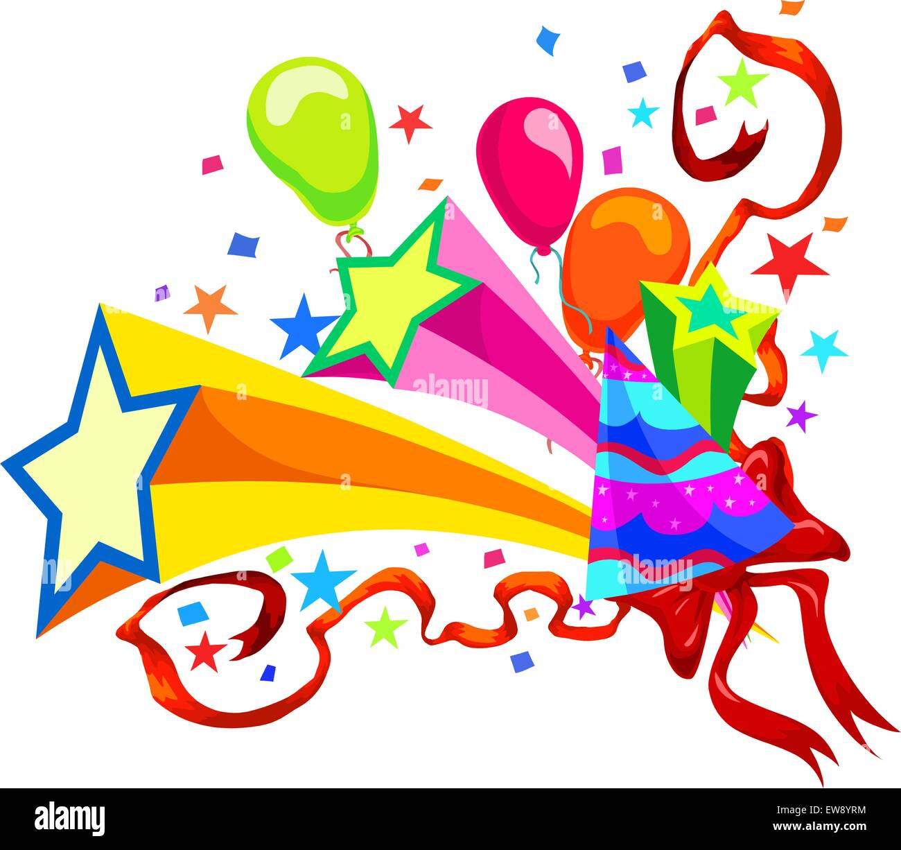 Celebration With Balloons, Stars, Party Hats, Ribbons And