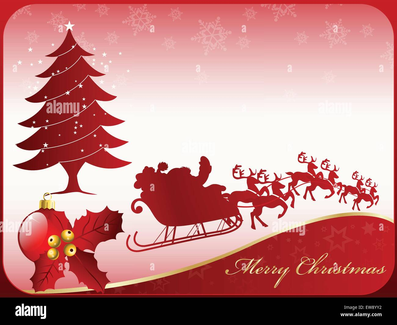A nice seasonal merry christmas card design with santa claus and a nice seasonal merry christmas card design with santa claus and his reindeer a christmas ball with a decorative poinsettia an m4hsunfo
