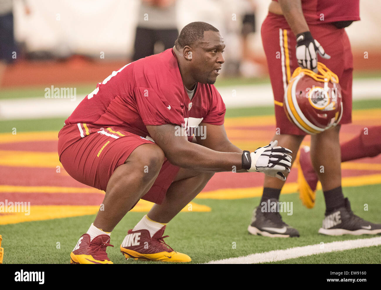 Washington Redskins nose tackle Jerrell Powe (72) participates in an 'organized team activity' OTA at Redskins - Stock Image