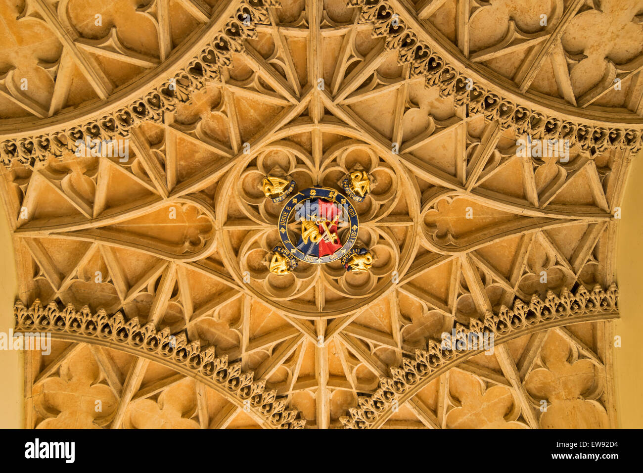 OXFORD CITY CORPUS CHRISTI COLLEGE  THE ENTRANCE AND CEILING DECORATION WITH COAT OF ARMS - Stock Image