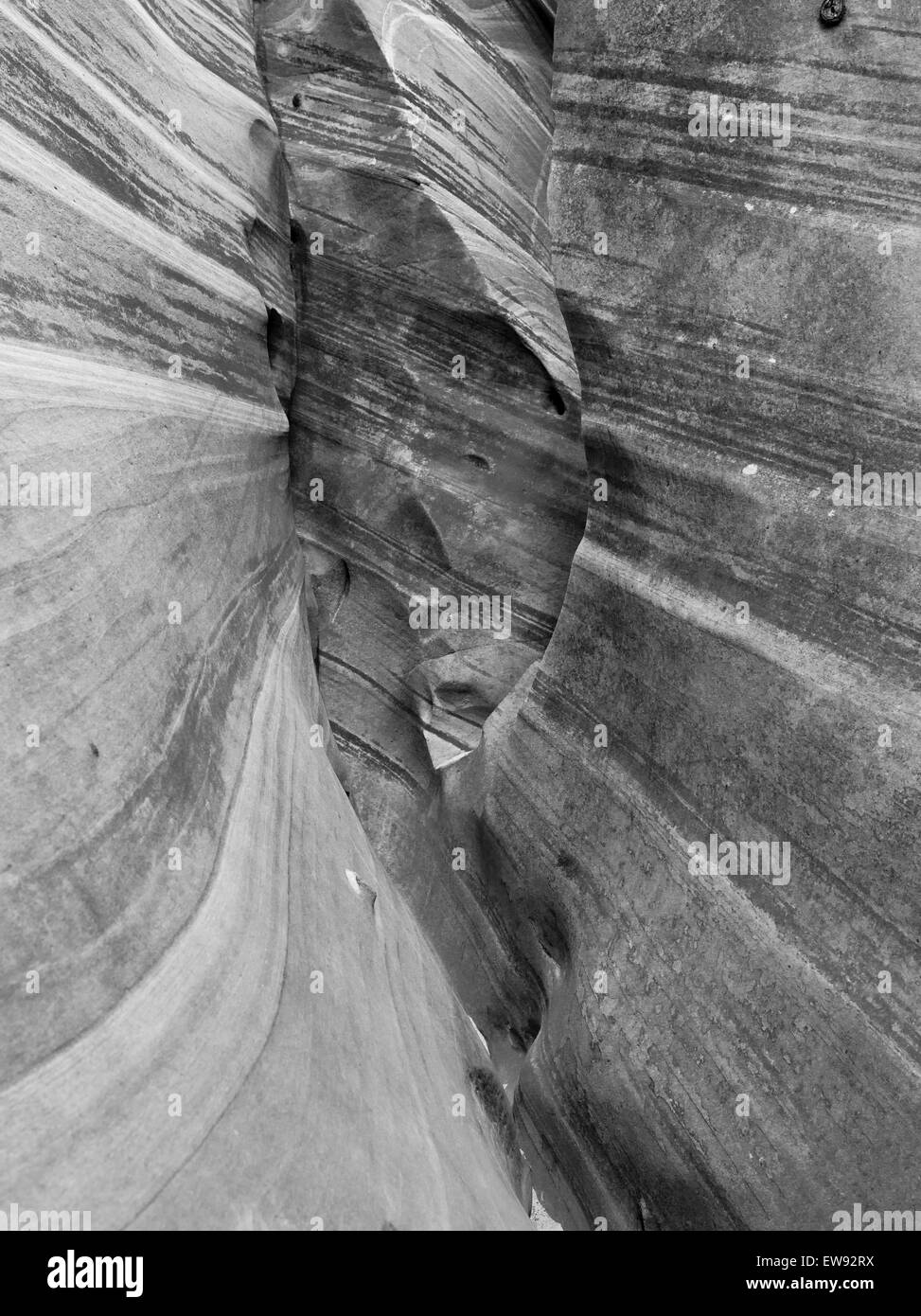 View of the sidewall of Zebra Slot Canyon, along Harris Wash, Grand Staircase-Escalante National Monument, near Stock Photo