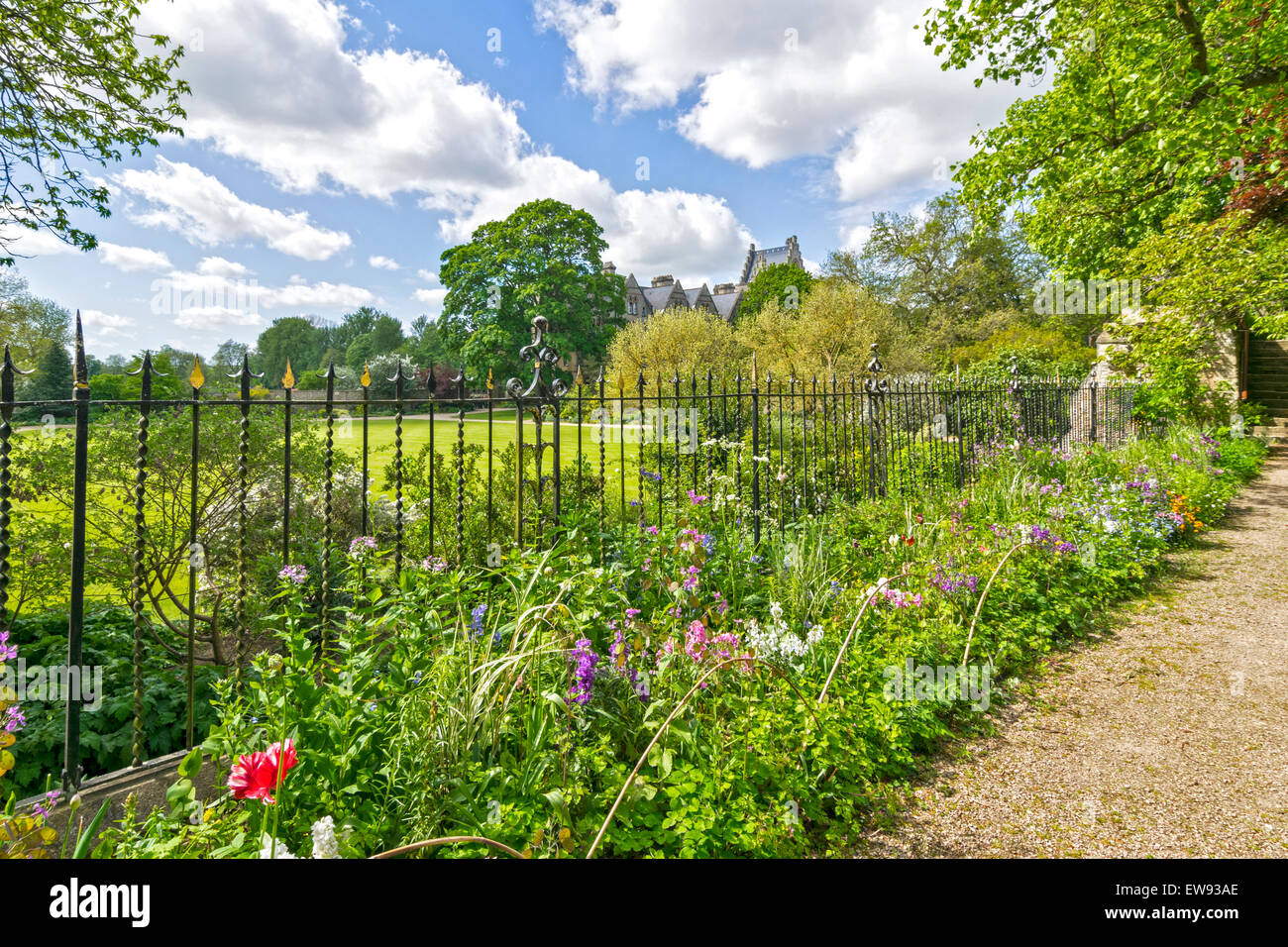 OXFORD CITY FLOWER BED IN SPRINGTIME AT CORPUS CHRISTI COLLEGE - Stock Image