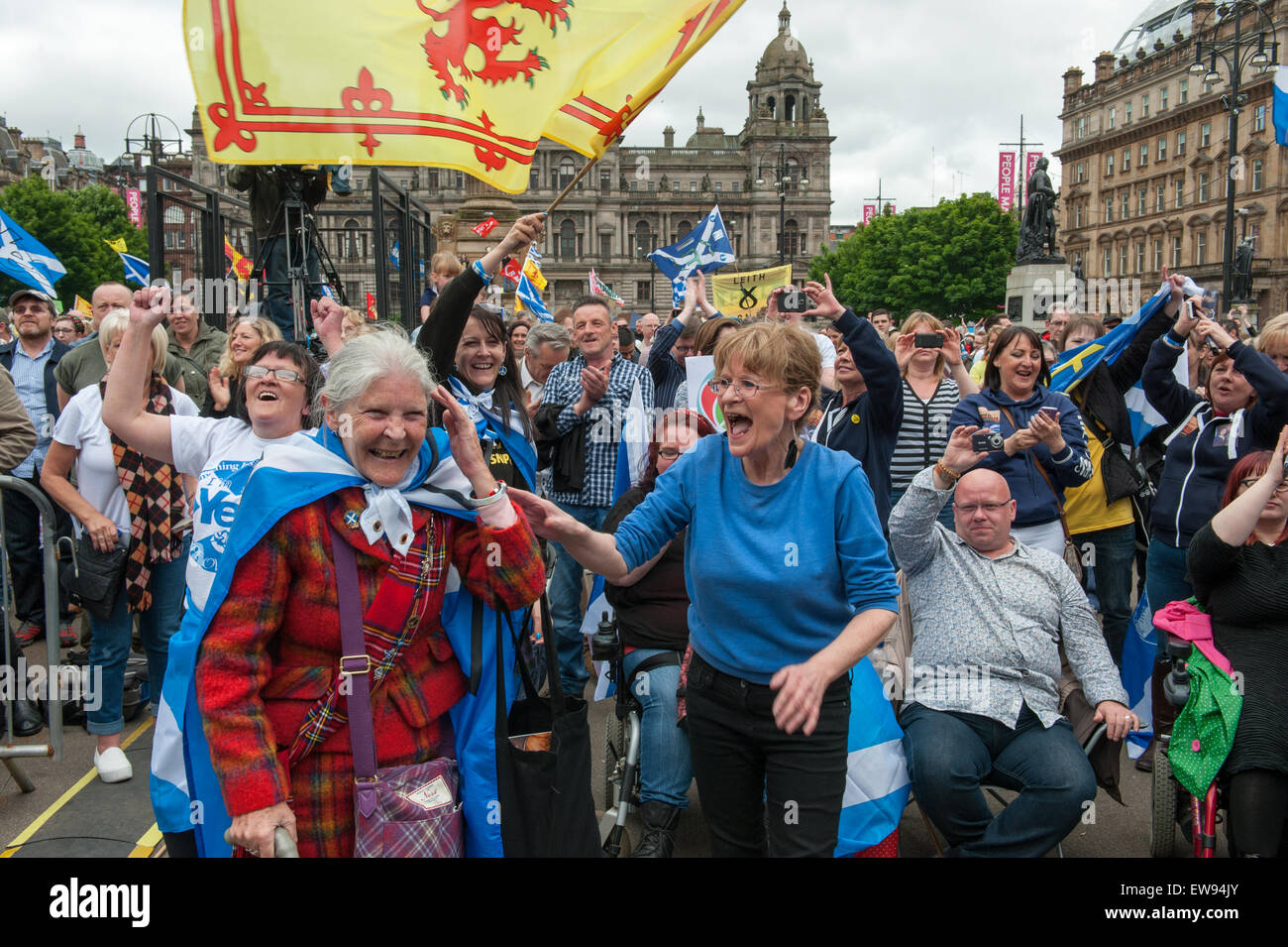 Glasgow, Scotland. 20th June, 2015. Anti-austerity demonstation held in Glasgow to coincide with The People's - Stock Image