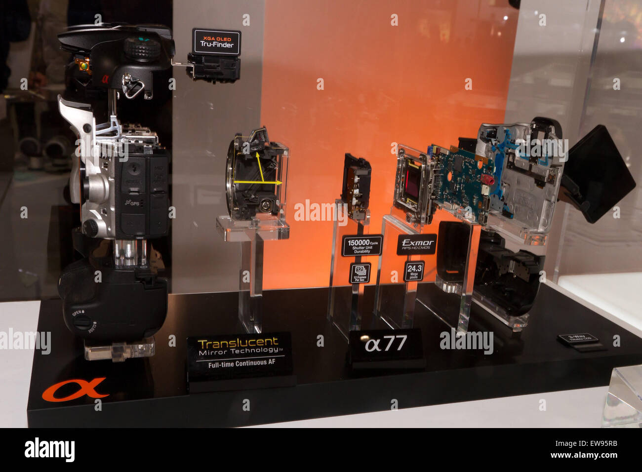 2011 Sony SLT-A77 taken apart 2012 CP - Stock Image