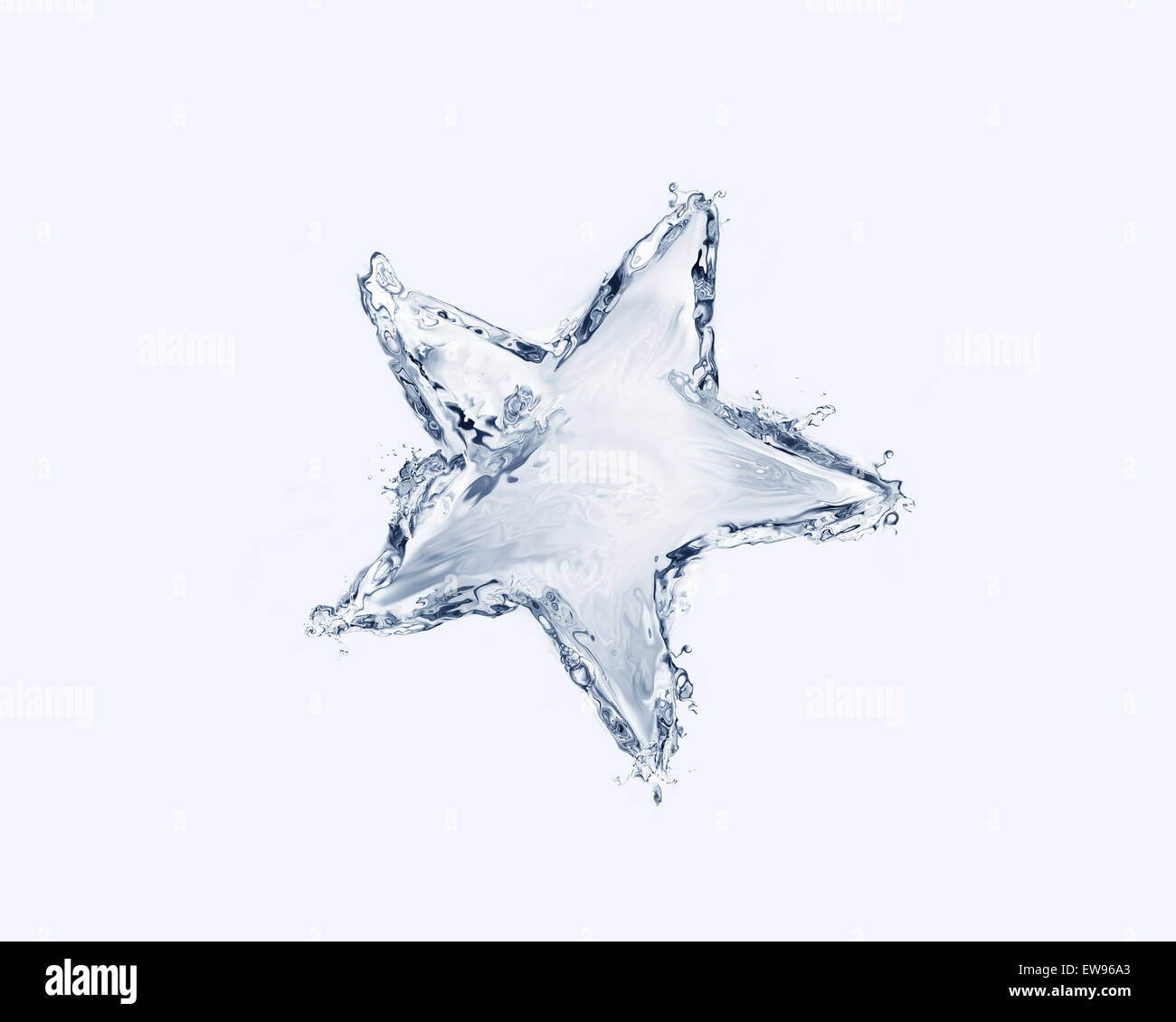 A blue star made of water. - Stock Image