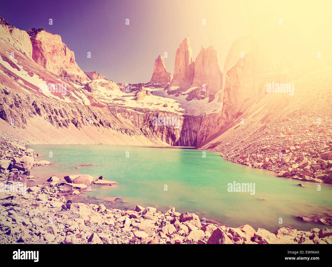 Vintage instagram toned mountains, Torres del Paine National Park, Patagonia, Chile. - Stock Image