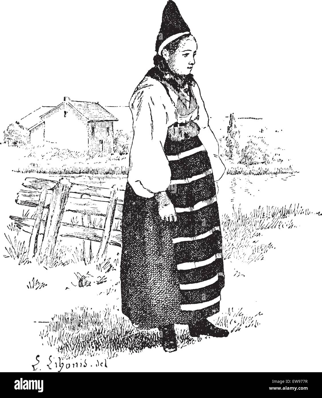 Peasant in the province of Dalarna, Sweden, vintage engraved illustration. Dictionary of words and things - Larive - Stock Image