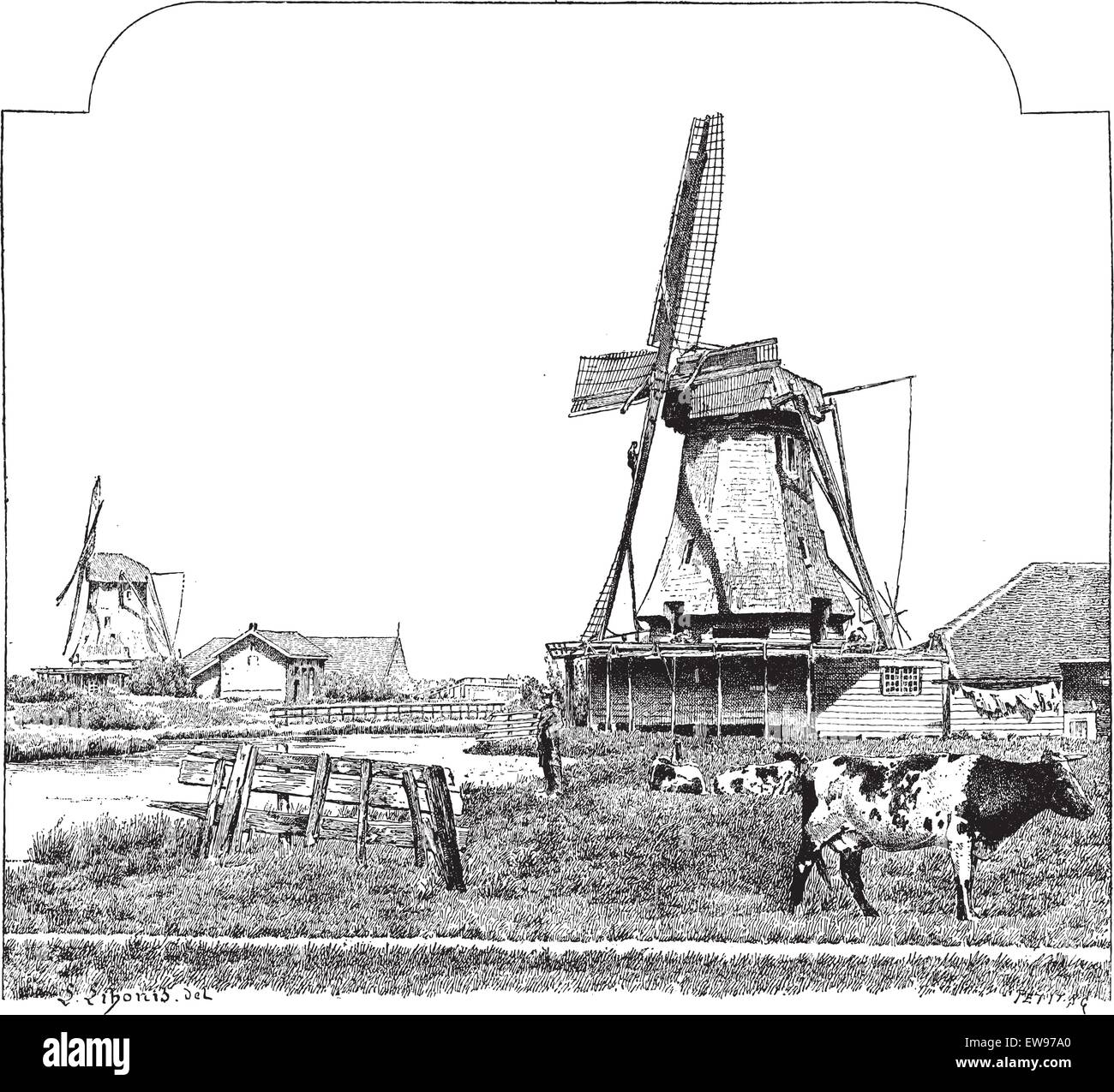 Mills, Zaandam (Holland), vintage engraved illustration. Dictionary of words and things - Larive and Fleury - 1895. - Stock Vector