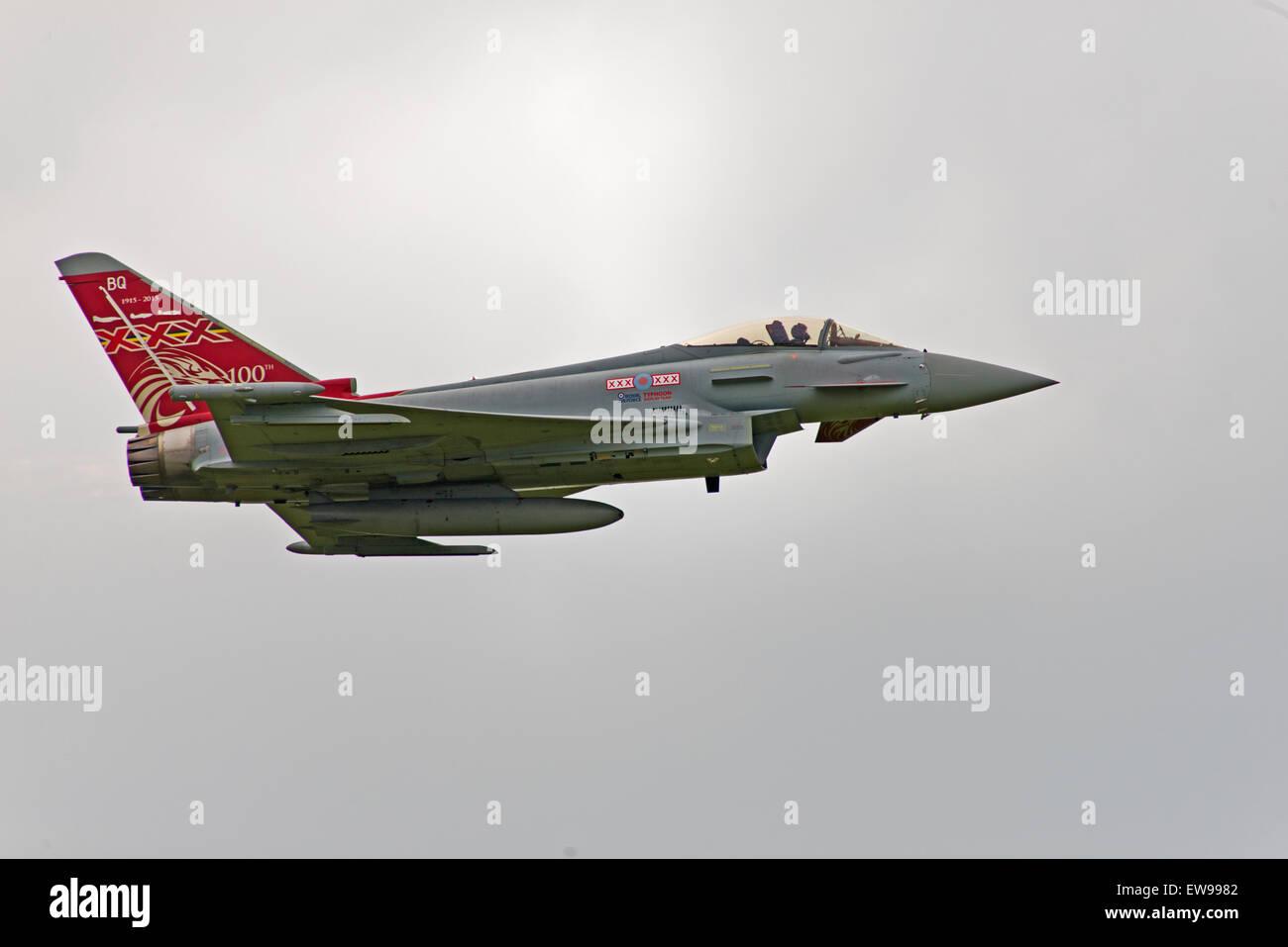 ZK353, 2013 Eurofighter EF-2000 Typhoon FGR4, C/N: BS114/411 BQ 1915-2015 100th anniversary  Raf Cosford England - Stock Image