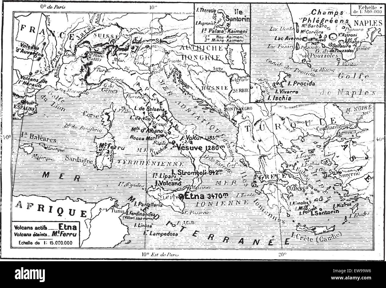 Map Of Volcanoes Of The Mediterranean Italy Greece Vintage Stock