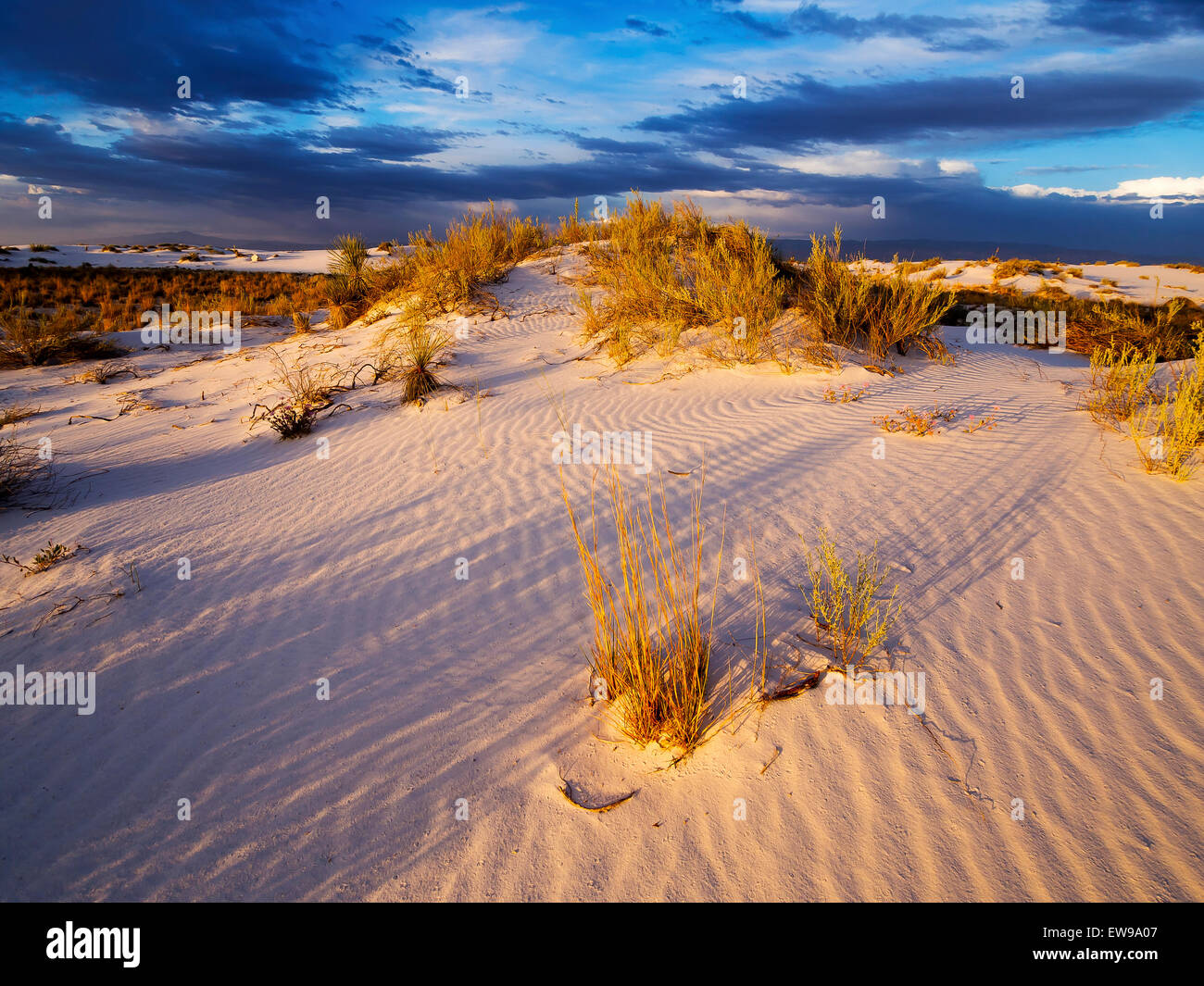Dramatic Sunset over White Sands - New Mexico - Stock Image