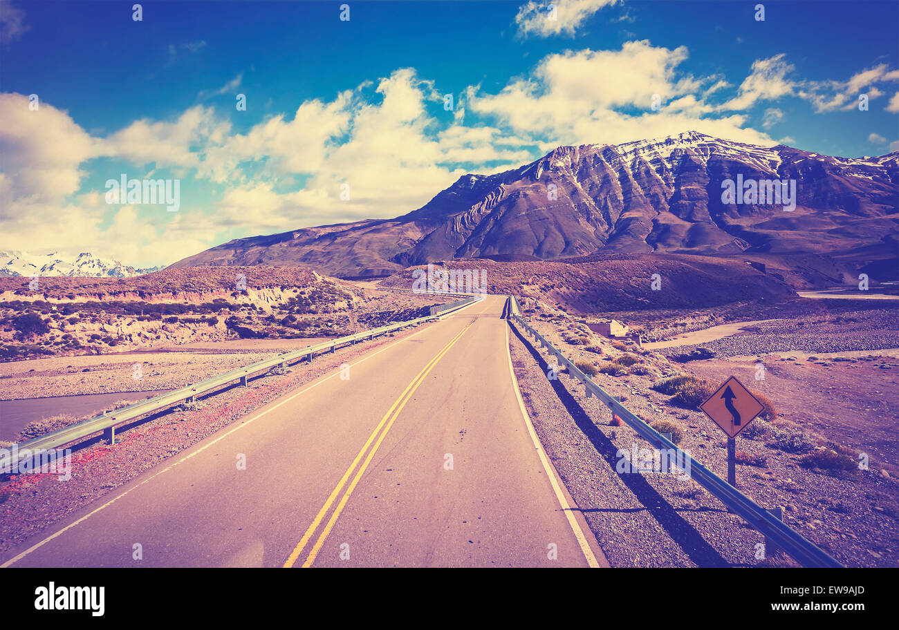 Vintage toned picture of a road, Argentina. - Stock Image