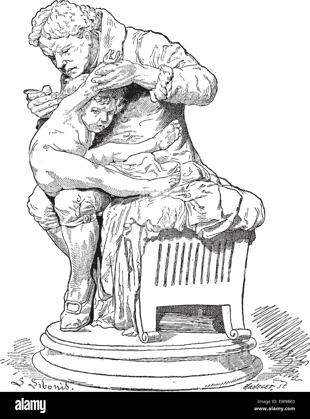 Edward Jenner, Father of Immunology, shown administering a vaccine to a child, during the Paris Exhibition of 1878,vintage - Stock Vector