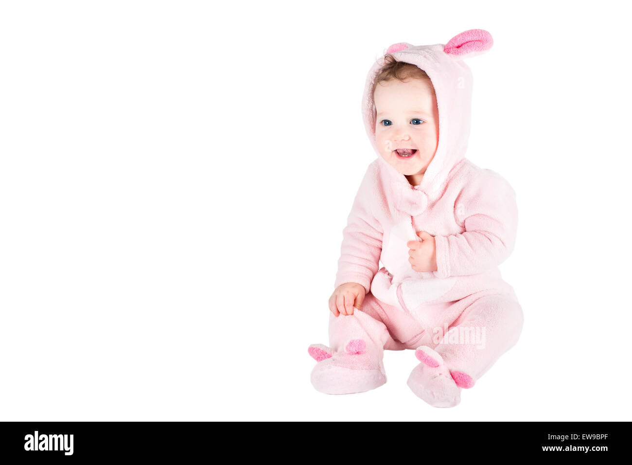 Funny baby in a bunny custom, isolated on white - Stock Image