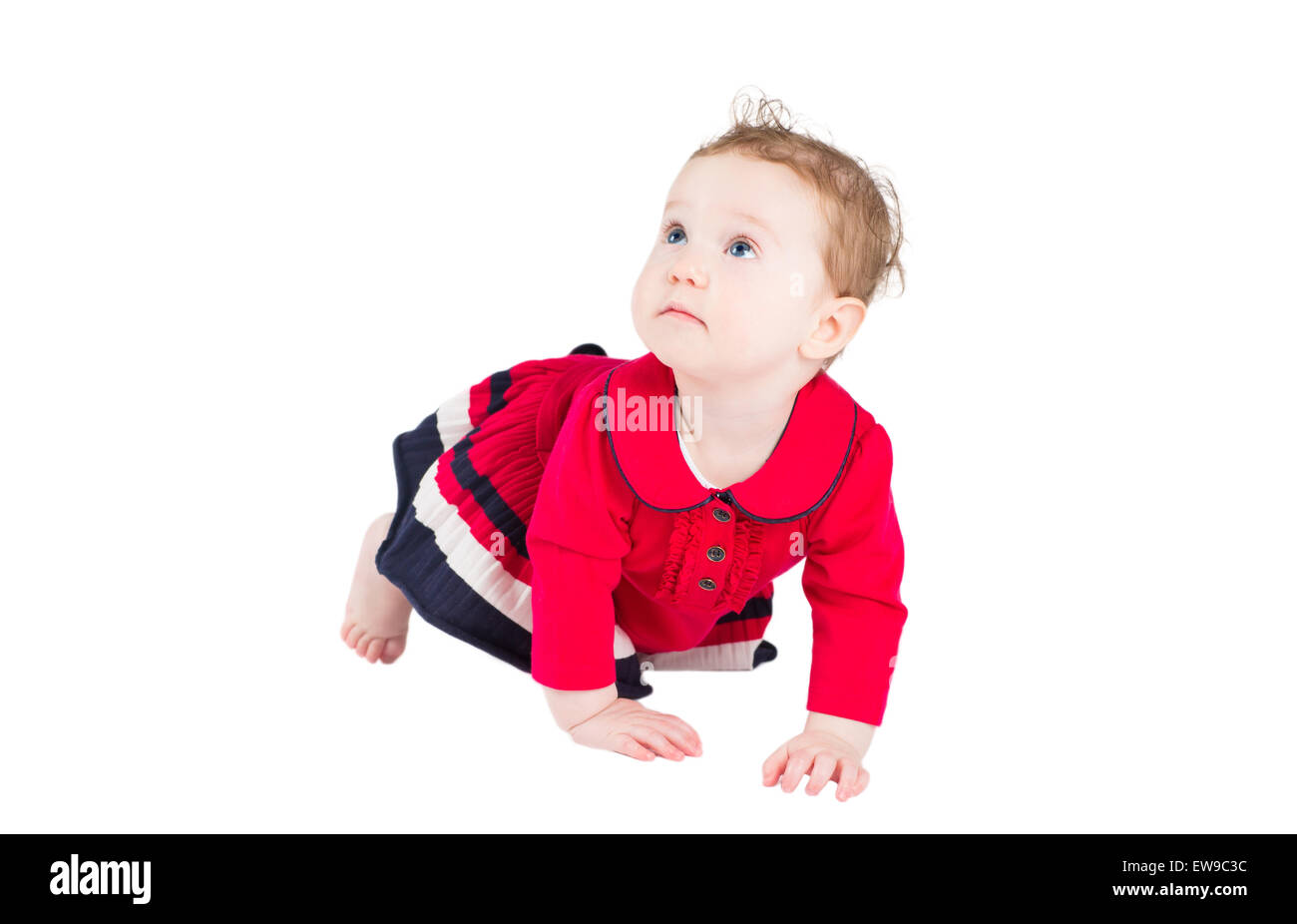 Funny baby girl in a red dress learning to crawl, isolated on white - Stock Image
