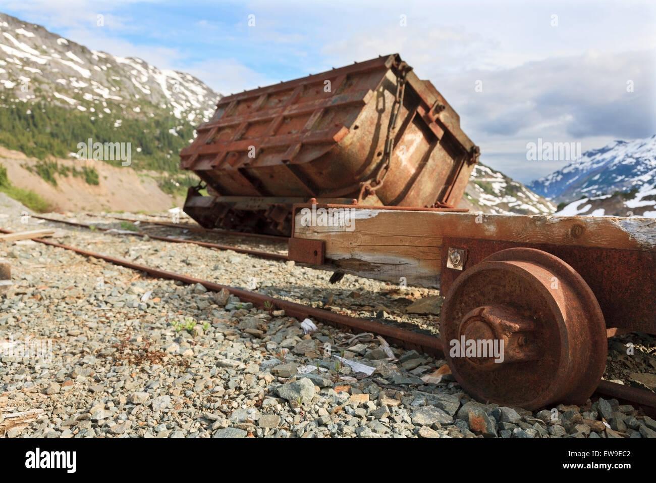 Old underground mining ore cart near the old mine site of Granduc, Stewart area, British Columbia - Stock Image